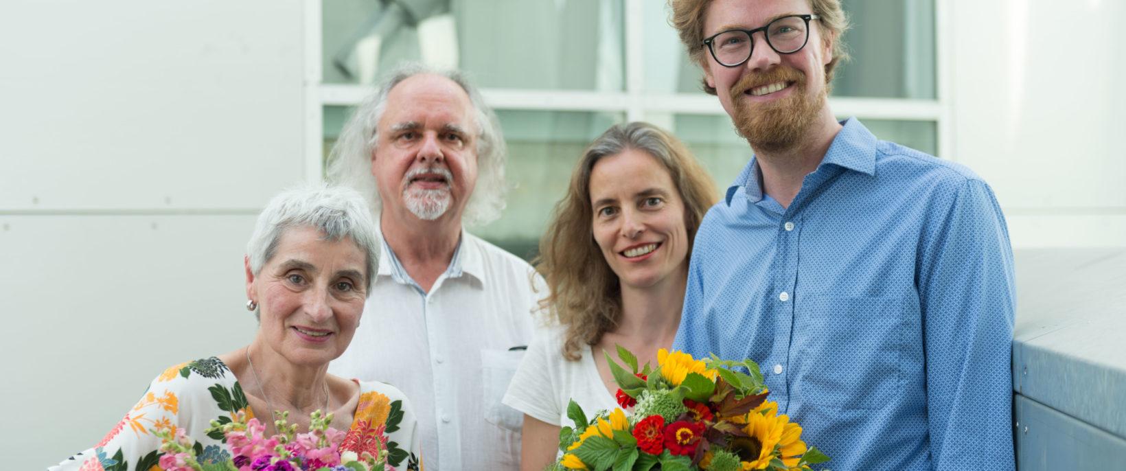 Monika Renner (ehem. Vorsitzende), Prof. Dieter Rehm (Präsident der Akademie), Dr. Patricia Drück (stellv. Vorsitzende) und Rasmus Kleine (Vorsitzender